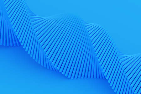 3d illustration of a stereo strip of different colors. Geometric stripes similar to waves. Simplified blue dna line 免版税图像 - 155616784
