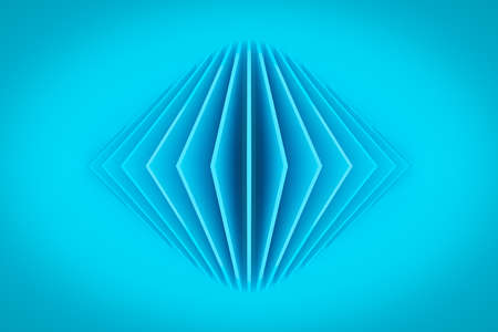3D illustration volumetric blue rhombus layers on a geometric monophonic background. parallelogram pattern. Technology geometry background. Origami concept 免版税图像 - 155616737