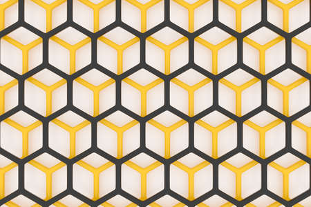 3d illustration of a yellow and black honeycomb monochrome honeycomb for honey. Pattern of simple geometric hexagonal shapes, mosaic background. Bee honeycomb concept, Beehive 免版税图像 - 155616814