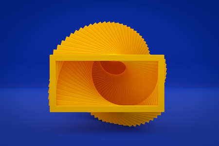 3D illustration yellow ascending staircase goes up in an empty blue room, top view. Business growth, progress and achievement creative concept 免版税图像 - 155705520