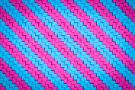 3d illustration pink and blue pattern in geometric ornamental style. Abstract geometric background, texture. Pattern Floor Mosaic