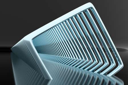 3D illustration volumetric blue square layers on a geometric monophonic background. Square portal, pattern. Technology geometry background