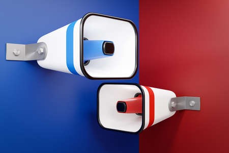group red and blue cartoon loudspeakers on a red monochrome background. 3d illustration of a megaphone. Advertising symbol, promotion concept. 版權商用圖片