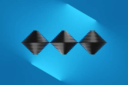 3d illustration of 3 black whirligig toys in a row on a blue background. Unusual geometric figure.