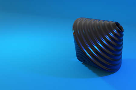 3d illustration of a black toy whirligig on a blue background. Unusual geometric figure.