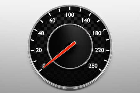 3D illustration close up black car panel, digital bright speedometer in sport style. Speedometer arrow shows zero speed
