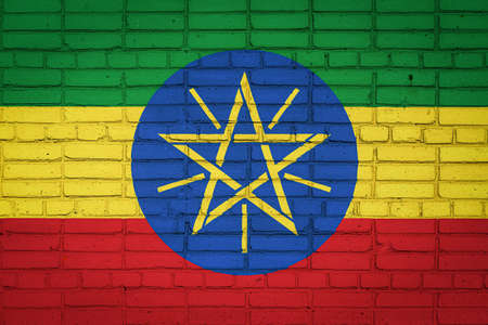 National flag of Ethiopia depicting in paint colors on an old brick wall. Flag banner on brick wall background. 免版税图像