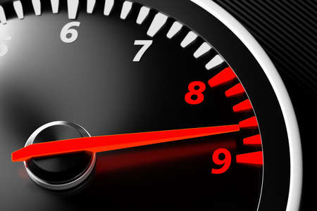 3D illustration close up black car panel, digital bright tachometer. Tachometer arrow shows maximum speed