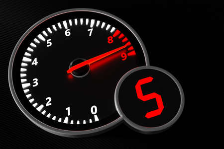 3D illustration car tachometer closeup. Sign and symbol on car dashboard.