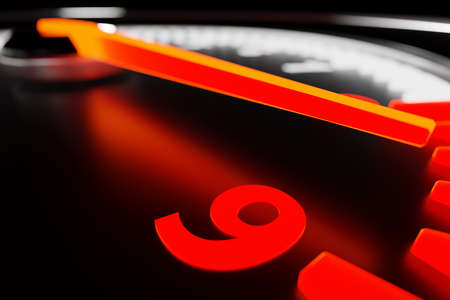 3D illustration car tachometer closeup. Sign and symbol on car dashboard. Close-up scale digits