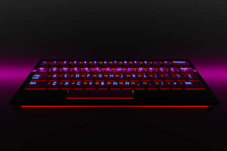 3d illustration, close up of the realistic computer or laptop keyboard with neon pink light on black background. Gaming keyboard with LED backlit 免版税图像