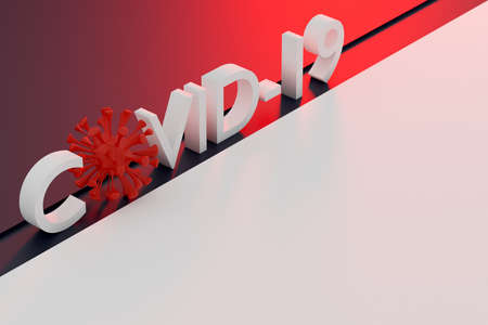 The inscription Covid-19 in red with a few microbes instead of letters on red isolated background. Coronovirus virus concept. 3D rendering.