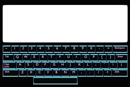 3d illustration, close up of the realistic computer or laptop with white monitor and keyboard with neon blue light on black background. Gaming keyboard with LED backlit