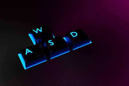 3D illustration keyboard buttons WASD with neon light on black background. Computer cybersport gaming concept. Game control icon