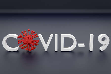 The inscription Covid-19 in red with a few microbes instead of letters on gray isolated background. Coronovirus virus concept. 3D rendering.
