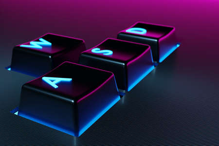 3D illustration keyboard buttons WASD with neon pink and blue light on black background. Computer cybersport gaming concept. Game control icon