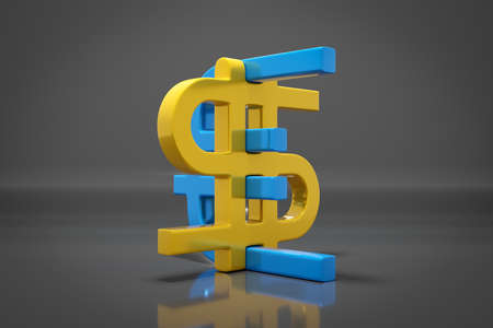3d illustration of euro and dollar money icons on gray isolated background. Currency exchange symbol, rising prices. Convert dollar to euro and back. 免版税图像