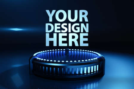 3D illustaration of a black cyber portal with a blue neon light. Fantastic cell.Mock up four your design with cyber shape in virtual reality. Simple geometric shapes