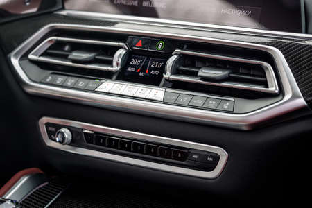 close up of separate climate control in an expensive car. Conditioner and air flow control in a modern car