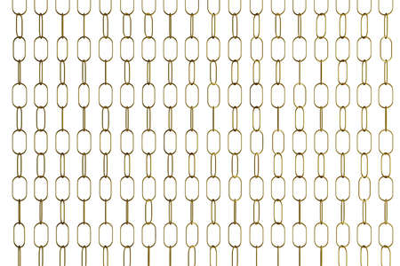 3d illustration of rows of silvery metal chains. Set of chains on a white background. Geometric pattern. Technology geometry background