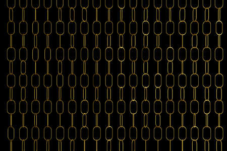 3d illustration of rows of gold metal chains. Set of chains on a black background. Geometric pattern. Technology geometry background Banco de Imagens