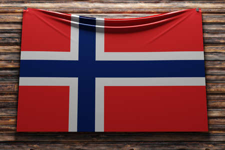 3D illustration of the national fabric flag of Norway nailed on a wooden wall .Country symbol. Foto de archivo
