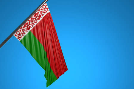 3D illustration of the national flag of Belarus on a metal flagpole fluttering against the blue sky.Country symbol. 版權商用圖片