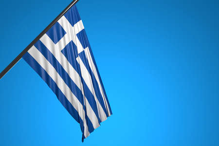 3D illustration of the national flag of Greece on a metal flagpole fluttering against the blue sky.Country symbol.