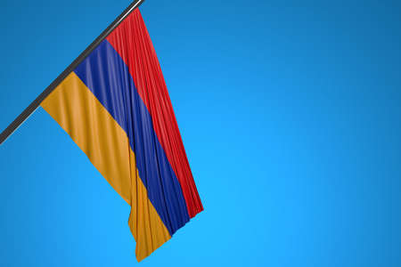 3D illustration of the national flag of Armenia on a metal flagpole fluttering against the blue sky.Country symbol. 版權商用圖片
