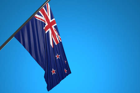 3D illustration of the national flag of New Zealand on a metal flagpole fluttering against the blue sky.Country symbol.