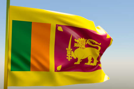 3D illustration of the national flag of Sri Lanka on a metal flagpole fluttering against the blue sky.Country symbol.