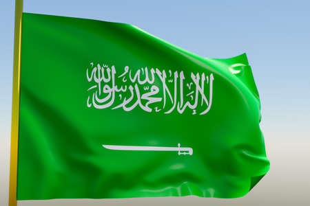 3D illustration of the national flag of Saudi Arabia on a metal flagpole fluttering against the blue sky.Country symbol.