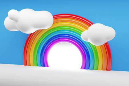 3d illustration of a rainbow round arch with clouds on a white background. Portal of long inflatable colorful balls to the magical land