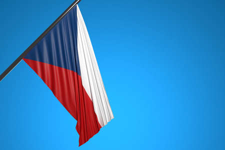 3D illustration of the national flag of Chile on a metal flagpole fluttering against the blue sky.Country symbol.