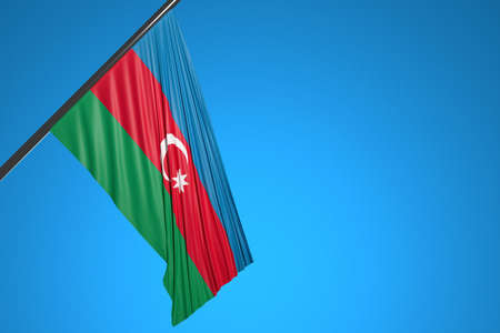 3D illustration of the national flag of Azerbaijan on a metal flagpole fluttering against the blue sky.Country symbol.