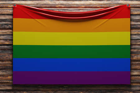3D illustration of the national fabric flag of LGBT nailed on a wooden wall .Country symbol.
