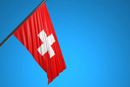 3D illustration of the national flag of Switzerland on a metal flagpole fluttering against the blue sky.Country symbol.