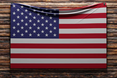 3D illustration of the national fabric flag of USA nailed on a wooden wall .Country symbol.