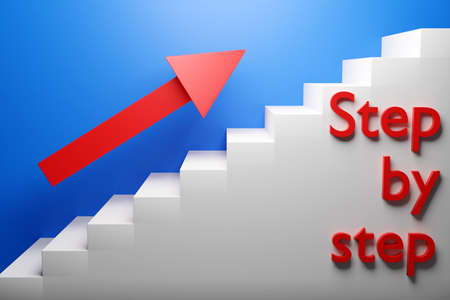 3D illustration white ascending staircase goes up with the inscription step by step and red arrow up. Business growth, progress and achievement creative concept