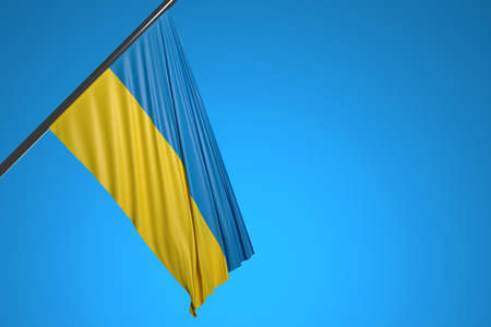 3D illustration of the national flag of Ukraine on a metal flagpole fluttering against the blue sky.Country symbol.