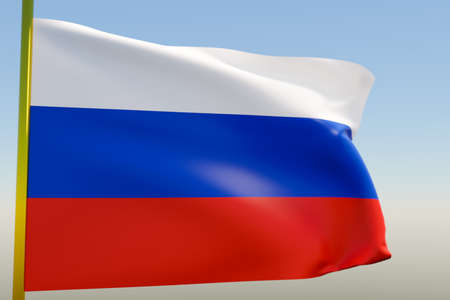 3D illustration of the national flag of Russia on a metal flagpole fluttering against the blue sky.Country symbol. 版權商用圖片