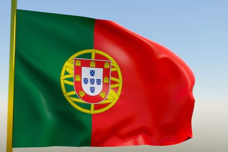 3D illustration of the national flag of Portugal on a metal flagpole fluttering against the blue sky.Country symbol.