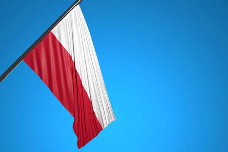 3D illustration of the national flag of Poland on a metal flagpole fluttering against the blue sky.Country symbol.