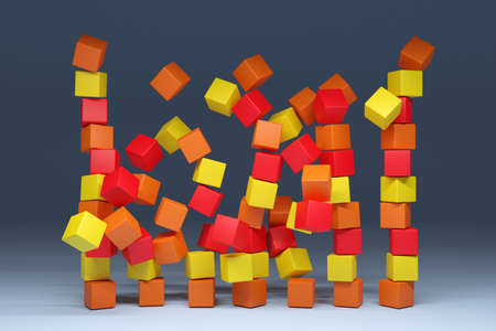 3d illustration of rows of yellow, red and orange cubes. Set of geometry figures on gray background. Parallelogram pattern. Technology geometry background