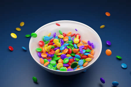 3d illustration of small glass plates with colorful chewing gums on a blue background. A treat for the kids. Sweets are scattered nearby