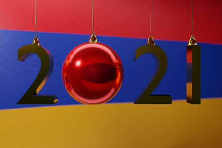 3D illustration 2021 happy new year against the background of the national flag of Armenia, 2021 white letter. Illustration of the symbol of the new year.