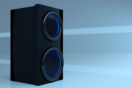 3d illustration music speaker with subwoofer on blue isolated background. Speaker audio sound system for concert and party