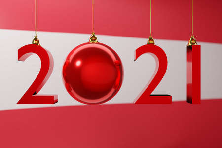 3D illustration 2021 happy new year against the background of the national flag of Austria, 2021 white letter. Illustration of the symbol of the new year. Stock fotó