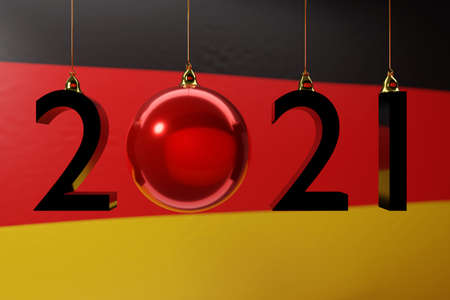 3D illustration 2021 happy new year against the background of the national flag of Germany, 2021 white letter. Illustration of the symbol of the new year.