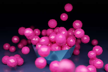 3D illustration of a large plate with bright pink balls with many faces scattering in different directions on a black background. Futuristic origami. Cybernetic circle shape for use in science and technology. Stock fotó